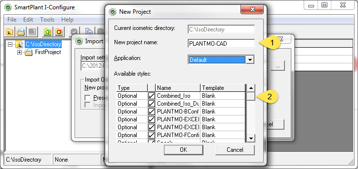 Import New Project Dialog
