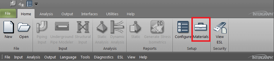 Figure 3 - Material database selection