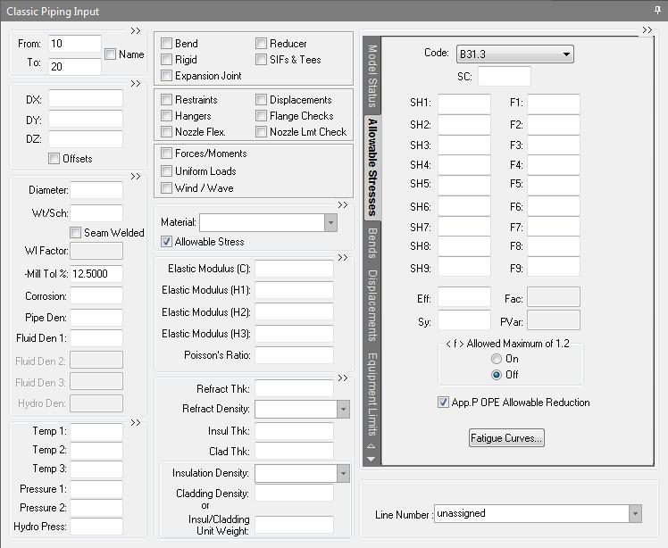 CAESAR II - Piping Input Screen