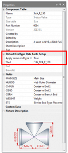 Figure 14- CADWorx Catalog Default EndType Data Selection