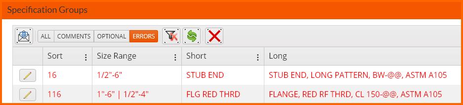 SPECWorx found CADWorx Spec Errors