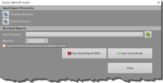 BOM Quick Report Dialog